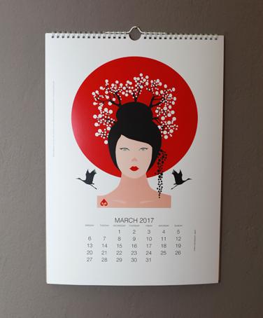 Cherry Blossom from Women of the World calendare © Lucila Bristow